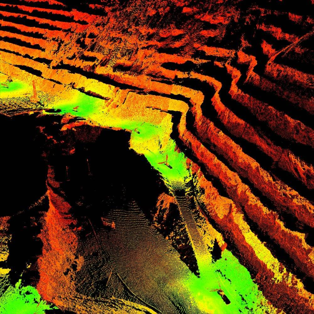 3d scan of an open pit mine
