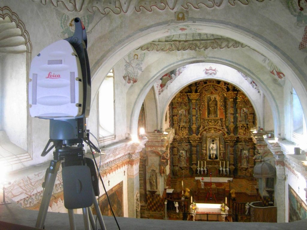 3d scanner setup to capture cathedral interior