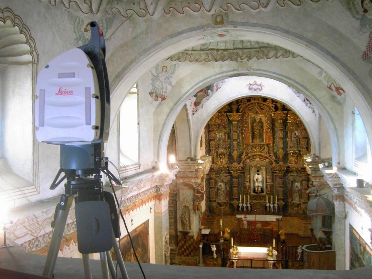 3d scanner setup to capture cathedral interior