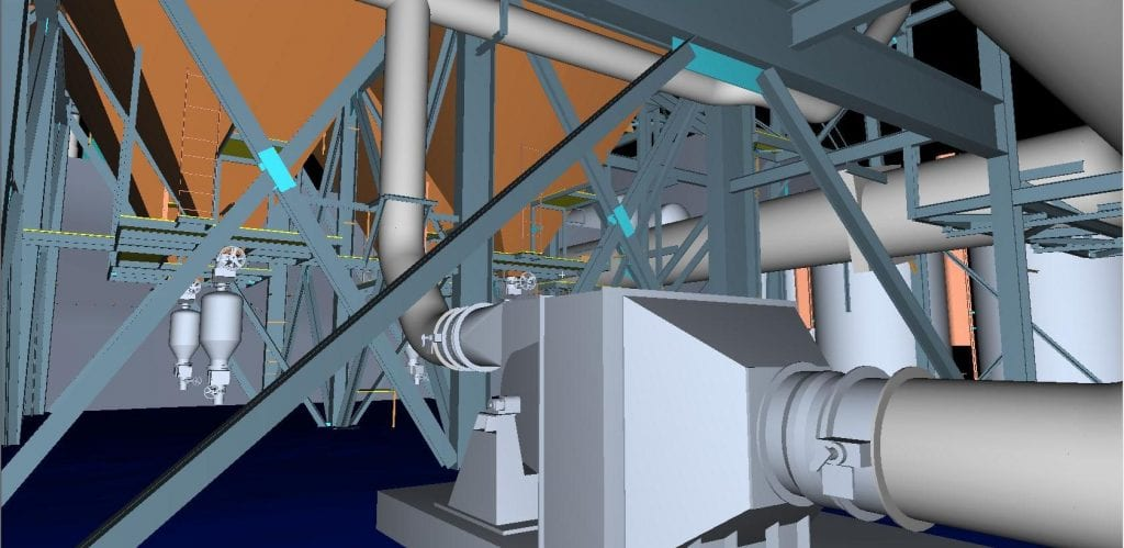 3d scan detail of a model boiler area