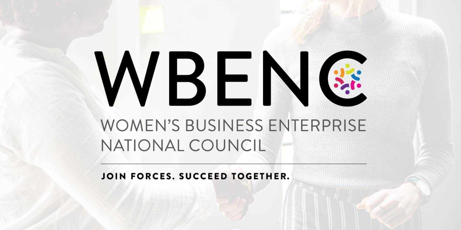 two women shaking hands in a business setting. WBENC logo overlays the image.