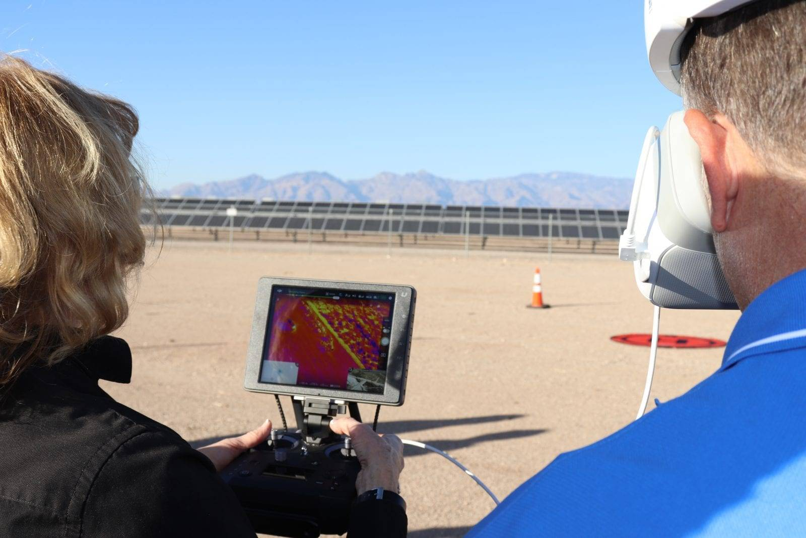 Mary Darling showing client drone controller