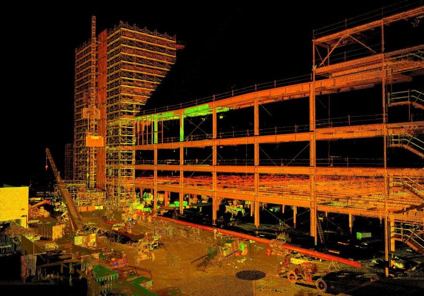 3D as-built model of a parking garage during construction