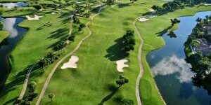 aerial drone image of a golf course